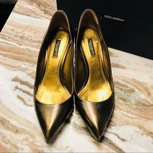 Dolce & Gabbana bronze jeweled heels pumps